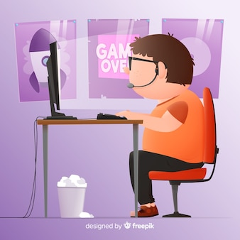 Design piatto di computer gamer sfondo