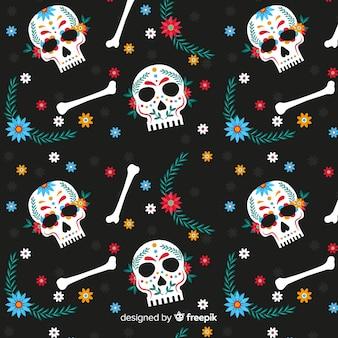 Design piatto di dia de muertos pettern