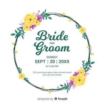 Design piatto di invito a nozze cornice floreale