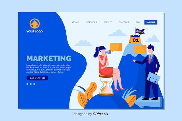 Design piatto di landing page di marketing