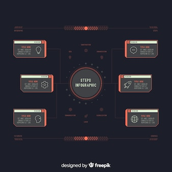 Design piatto di passaggi infografica scuro