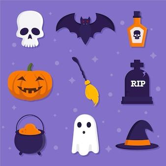 Design piatto di raccolta di elementi di halloween