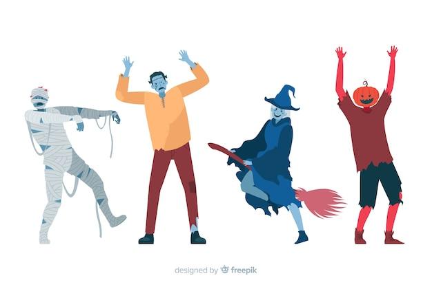 Design piatto di raccolta di personaggi di halloween