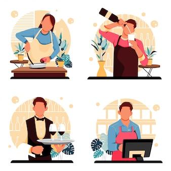 Design piatto di ritratti di persone personaggi di lavoro
