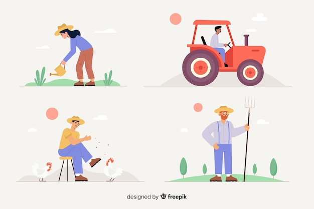 Design piatto di set di lavoratori agricoli