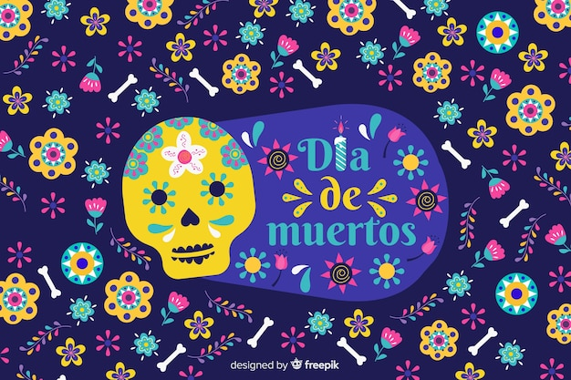 Design piatto di sfondo colorato dia de muertos