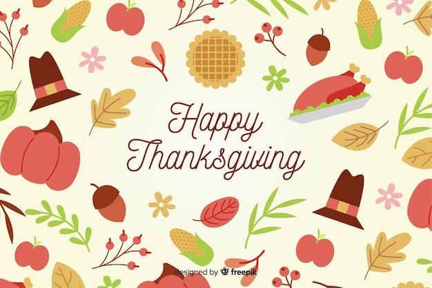 Design piatto di sfondo del ringraziamento