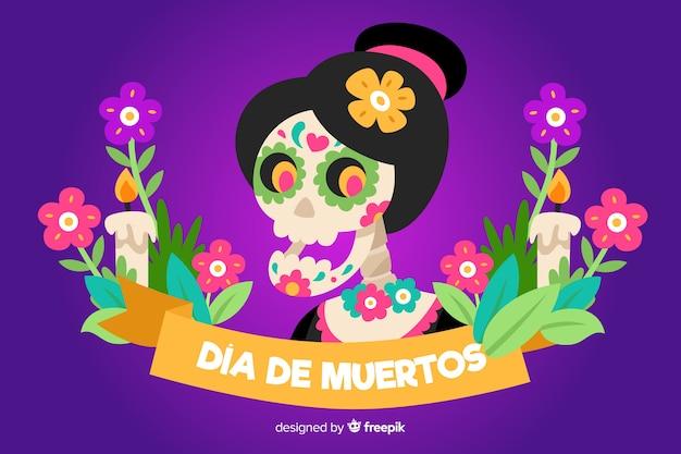 Design piatto di sfondo dia de muertos