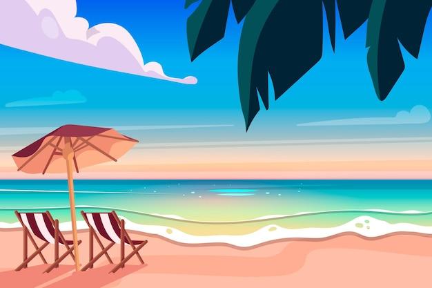 Design piatto di sfondo estivo