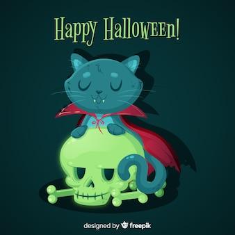 Design piatto di simpatico gatto nero di halloween