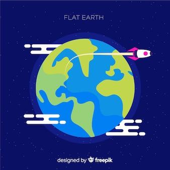 Design piatto di terra nello spazio
