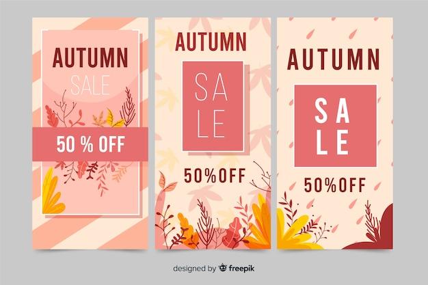 Design piatto di vendita autunno banner