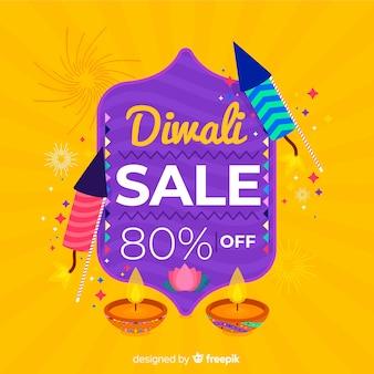 Design piatto di vendita giallo diwali