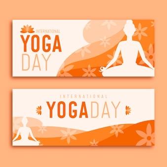 Design piatto di yoga giorno banner