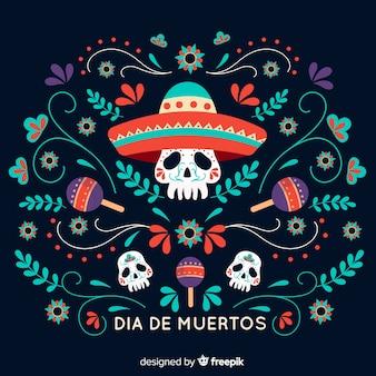 Design piatto día de muertos sfondo