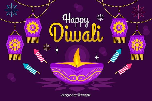 Design piatto diwali sfondo con candela