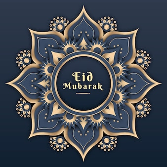 Design piatto eid mubarak con mandala