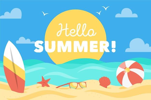 Design piatto estate sfondo con spiaggia e mare