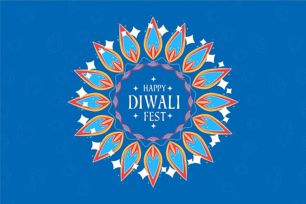 Design piatto felice diwali foglie festive nei toni del blu
