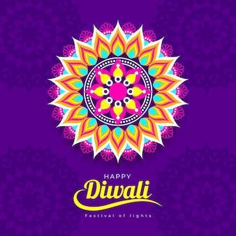 Design piatto felice vista dall'alto di diwali alleggerire la candela
