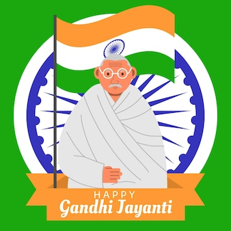 Design piatto gandhi jayanti e evento bandiera