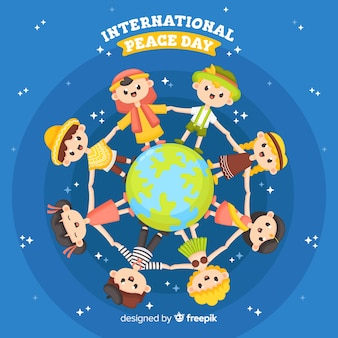 Design piatto giornata di pace con i bambini