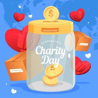 Design piatto giornata internazionale del concetto di beneficenza