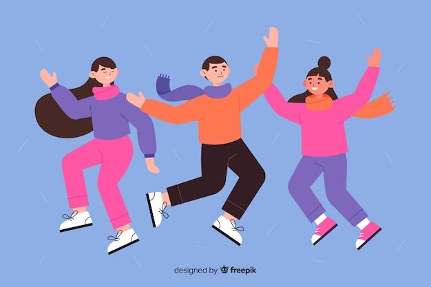 Design piatto giovani che indossano abiti invernali saltando designyoung persone che indossano abiti invernali saltando