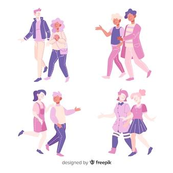 Design piatto giovani coppie che camminano insieme