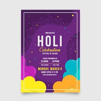 Design piatto holi festival flyer template design