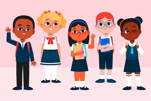 Design piatto illustrazione bambini torna a scuola