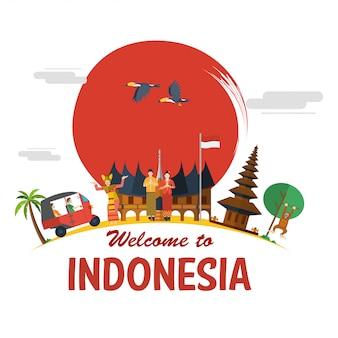 Design piatto, illustrazione delle icone indonesiane e punti di riferimento,