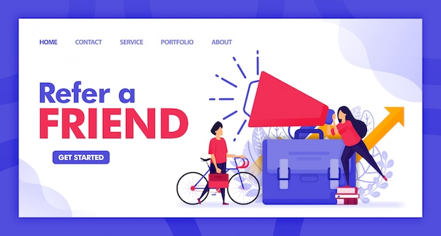 Design piatto illustrazione di refer a friend.