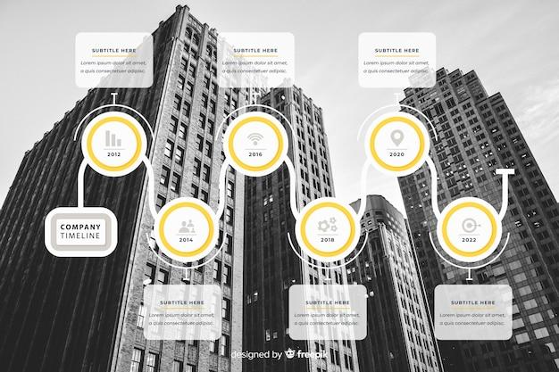 Design piatto infografica affari con foto