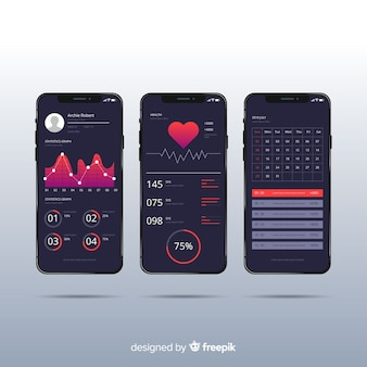 Design piatto infografica app mobile fitness
