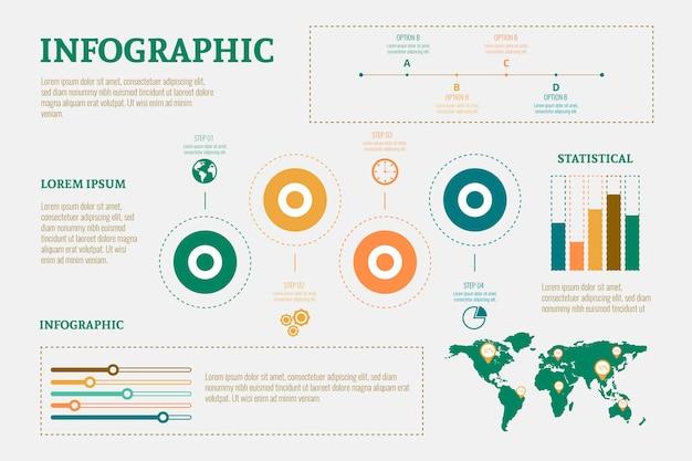 Design piatto infografica con colori retrò