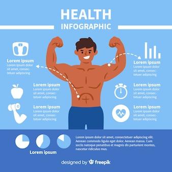 Design piatto infografica salute blu