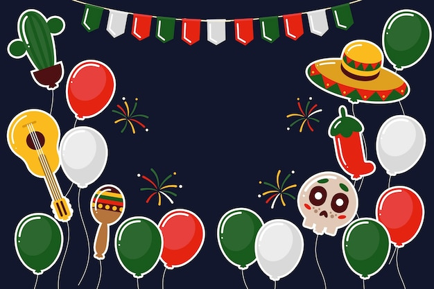 Design piatto mexic festa dell'indipendenza sfondo