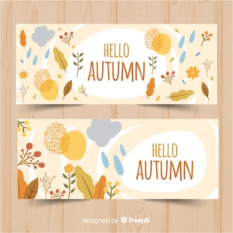 Design piatto modello autunno banner