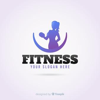 Design piatto modello di logo di fitness