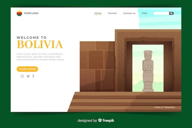 Design piatto modello di pagina di benvenuto
