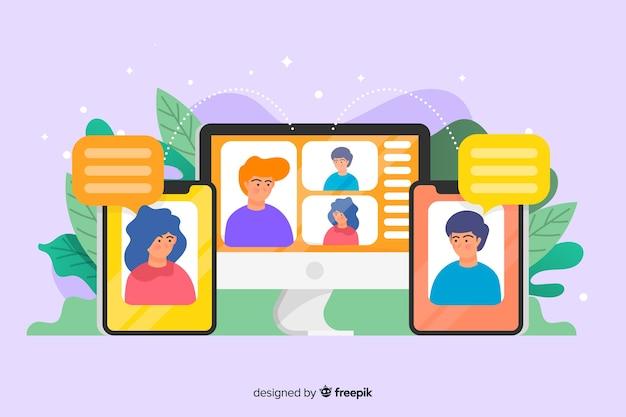 Design piatto modello di pagina di destinazione di videoconferenza