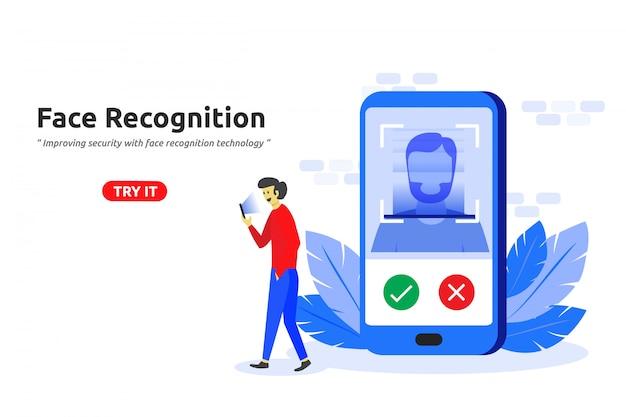 Design piatto moderno concetto di riconoscimento facciale tecnologia