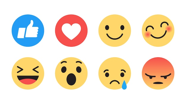 Design piatto moderno facebook emoji