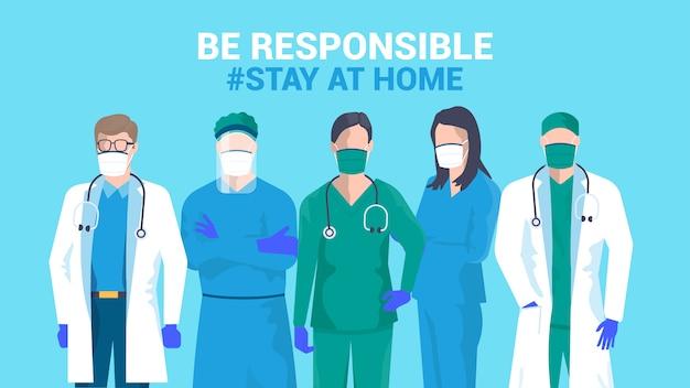 Design piatto moderno illustrazione di essere responsabile rimanere a casa