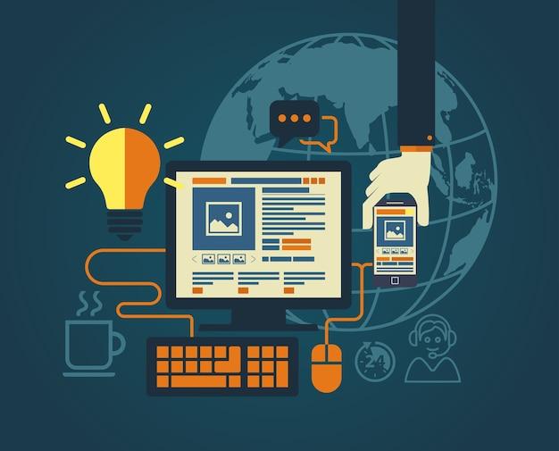 Design piatto moderno per l'illustrazione di web design