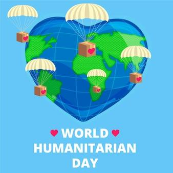 Design piatto mondo umanitario giorno di sfondo