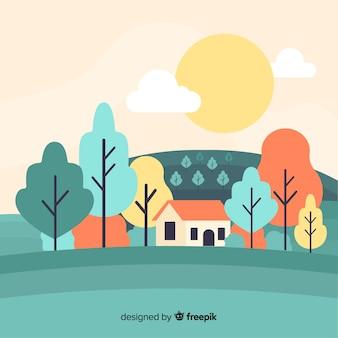 Design piatto paesaggio natura decorativa