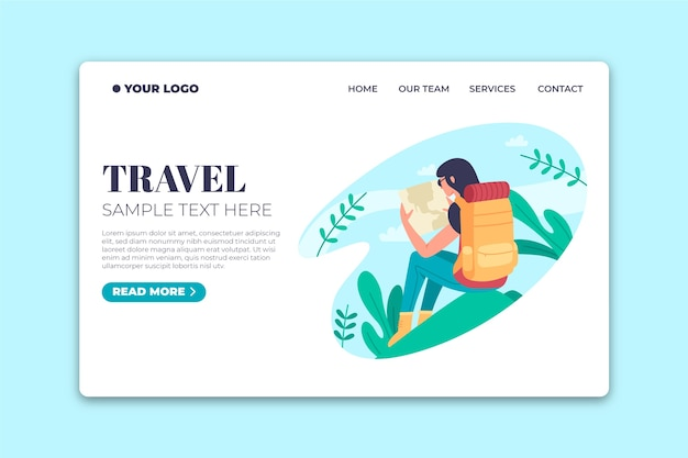 Design piatto pagina di destinazione modello di viaggio