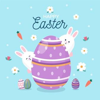 Design piatto pasqua con grande uovo e coniglietti